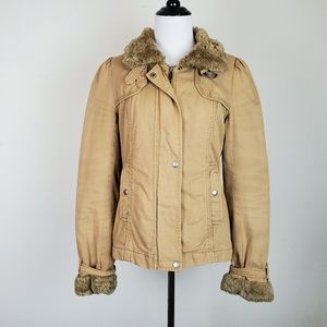 French Connection Tan Faux Shearling Bomber Jacket